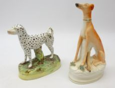 19th century Staffordshire Dalmatian and seated Greyhound,