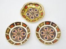 Pair Royal Crown Derby Old Imari circular pin dishes and another flower form dish
