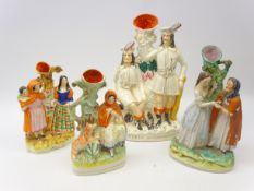 Four 19th century Staffordshire spill vases comprising Little Red Riding Hood,