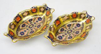Pair Royal Crown Derby Old Imari shaped dishes no.