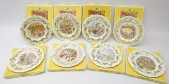 Eight Royal Doulton Brambly Hedge plates: The Oak Palace, The Store Stump, Crabapple Cottage,