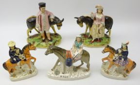 19th century Staffordshire 'Milk' group of a milkmaid riding a Donkey, L19cm,