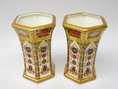 Pair Royal Crown Derby Old Imari pattern hexagonal vases no.