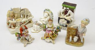 Pair Samson porcelain figures, gold anchor mark,