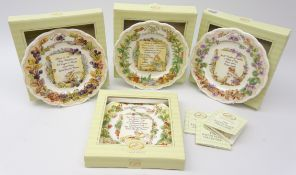 Four Royal Doulton Brambly Hedge plates from the The Recipe Plate Collection: Strawberry Shortcake,