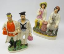 19th century Staffordshire group modelled as a Soldier and Sailor with arms linked,