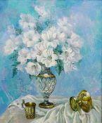 Gregori (Lysechko) Lyssetchko (Russian 1939-): Sill Life of Lilies in a Cut Glass Vase,