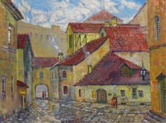 Stas Blinov (Russian 1946-): Town Scene, oil on canvas signed and dated '90,