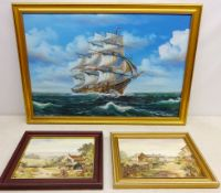 Sailing Ship at Sea, 20th century oil on canvas signed Ambrose 50cm x 75cm and Rural Farmhouses,