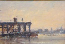 Peter Gilman (British 1928-1984): City River Scene, oil on board signed 16cm x 23.