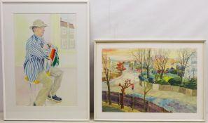 Solange B Emery-Wallis (British 20th century): 'Nigel's Blue Striped Shirt', mixed collage,