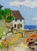 Ann Lamb (British 1955-): Lady Palmer's Cottage, Runswick Bay, fabric and hand stitched collage,