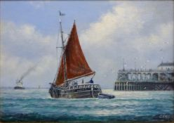 Jack Rigg (British 1927-): Sailing Barge in the Estuary, oil on board signed,
