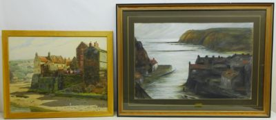 Staithes, 20th century oil on board signed by E C Clark 47cm x 59cm and View Looking out of Staithes