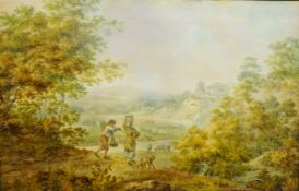 Francis Nicholson (British 1753-1844): 'Langton Bank River Swale Yorks', watercolour unsigned,