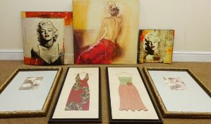 Marilyn Monroe, two curved prints, Seated Nude Lady, colour print on canvas, Still Life of Flowers,