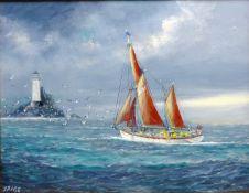 Jack Rigg (British 1927-): Rounding the Fastnet Lighthouse,