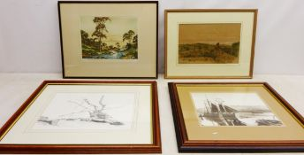 James Priddey (British 1916-1980): Rural River Landscape, engraving signed in pencil,