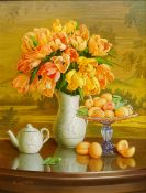 Gregori (Lysechko) Lyssetchko (Russian 1939-): Still Life of Apricots and Flowers on a Glass table,