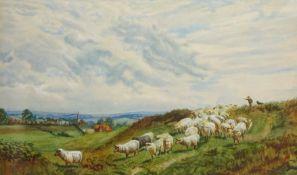 John William Bottomley (British 1816-1900): Shepherd with his Flock,