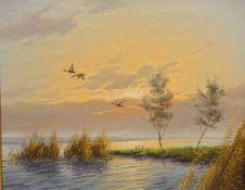 Gien Brouwer (Dutch 1944-): Mallards in Flight, oil on board signed 39cm x 49cm and Spaniels,