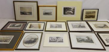 Collection of eighteen 19th century engravings and lithographs including Scarborough,