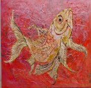 Ann Lamb (British 1955-): Coy Carp, mixed media on canvas signed 58.
