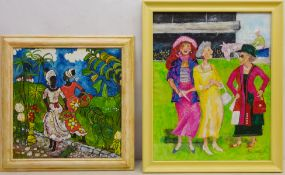 Ann Lamb (British 1955-): Day at the Races and Caribbean Ladies,