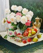 Gregori (Lysechko) Lyssetchko (Russian 1939-): Still Life of Flowers Fruit and Tea ware,