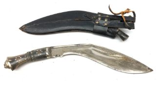 Kukri Knife, 28cm curved blade dot prick decorated with scrolls and India,