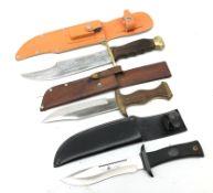 Bowie type knife, 20cm single edge blade stamped Crocodile Hunter,