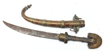 Indian Jambiya type knife, 24cm single edge curved steel blade,