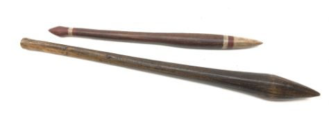 Aboriginal wooden nula, nula club of typical form with bulbous end and tapering shaft,