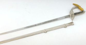ER2 Warrant Officers Sword, 82cm Wilkinson blade etched with Battle Honours and no.
