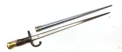 French Gras Bayonet, 52.5cm tapering steel triangular blade engraved St.