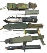 Hunting knife, 18cm sawback blade marked Aitor oso blanco,