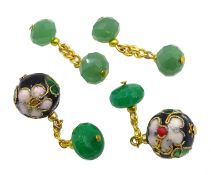 Emerald bead and cloisonne cufflinks and a pair of jade cufflinks Condition Report