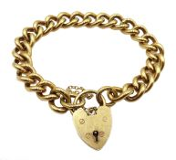 9ct gold curb chain bracelet with heart locket, Birmingham 1975, approx 44.