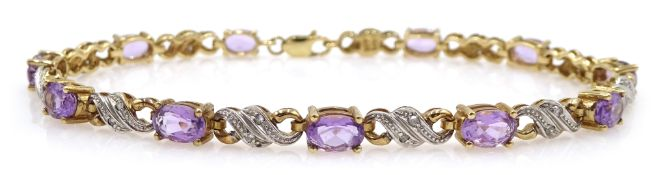 9ct gold amethyst and diamond bracelet, stamped 375 Condition Report Approx 8.