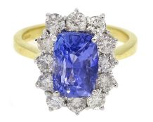 18ct gold Ceylon sapphire and diamond cluster ring, hallmarked, sapphire approx 3.