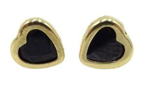 Pair of gold blue stone heart stud earrings,