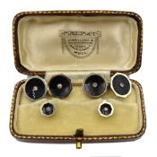 Pair of white gold, black enamel and diamond cufflinks and two matching studs,