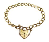 9ct gold curb chain bracelet with heart locket hallmarked, approx 9.