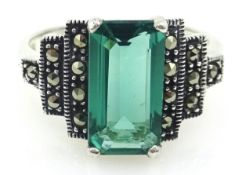 Silver stepped marcasite and green stone ring,