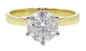 18ct gold round brilliant cut diamond single stone ring, hallmarked, diamond 1.