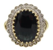 9ct gold oval sapphire and diamond cluster ring,