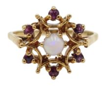 9ct gold ruby and opal cluster ring, hallmarked Condition Report Approx 3.