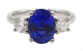 Platinum fine Ceylon sapphire and diamond three stone ring, hallmarked, sapphire 2.