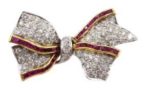 White and yellow gold pave set diamond and calibre cut ruby bow brooch,