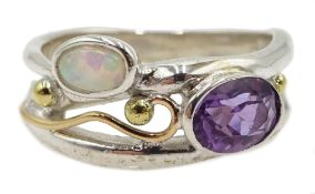 Silver and 14ct gold wire amethyst and opal ring,